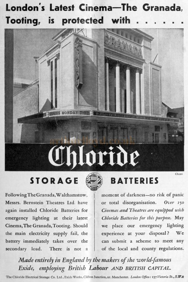 An Advertisement for Chloride Storage Batteries, as fitted in the Granada Theatre, Tooting - From the Bioscope Cinema Magazine of October 7th 1931.