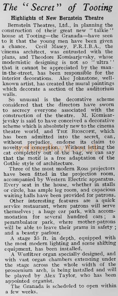 A report on the highlights of the soon to be opened Granada Theatre, Tooting - From the Bioscope Cinema Magazine, August 26th 1931.