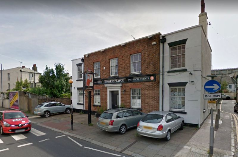 A Google StreetView Image of the Tower Place Public House which is situated on the site of the former Assembly Rooms and Grand Theatre, Gravesend - Click to Interact.