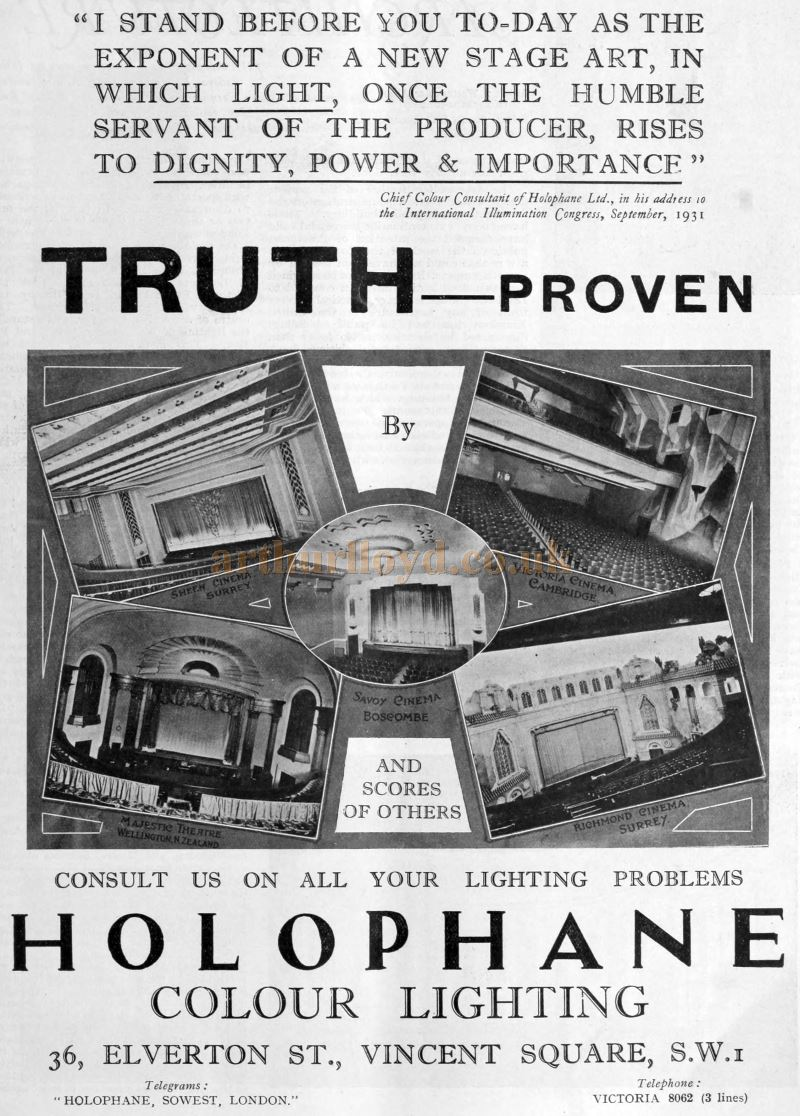 An Advertisement for Holophane Colour Lighting - From The Bioscope, September 16th, 1931.