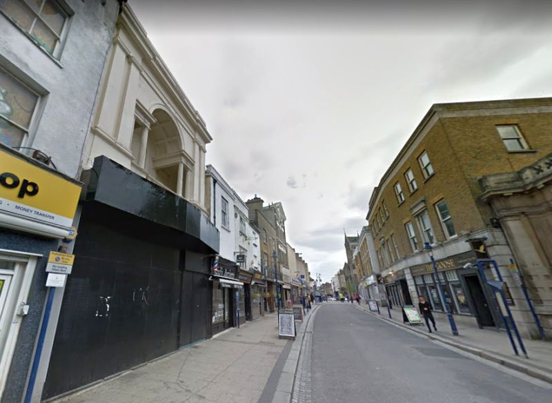 A google StreetView Image of King Street, Gravesend and the Facade of the former Majestic Theatre to the near left - Click to Interact.