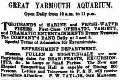 An Advertisement for Operatic, Dramatic, and Variety Entertainments at the Great Yarmouth Aquarium in 1883 - From The Eastern Daily Press, September 4th 1883.
