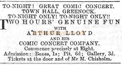 A Greenock Telegraph advertisement from October 1872 for Arthur Lloyd and Company performing 'Two Hours Genuine Fun' at the Town Hall, Greenock.