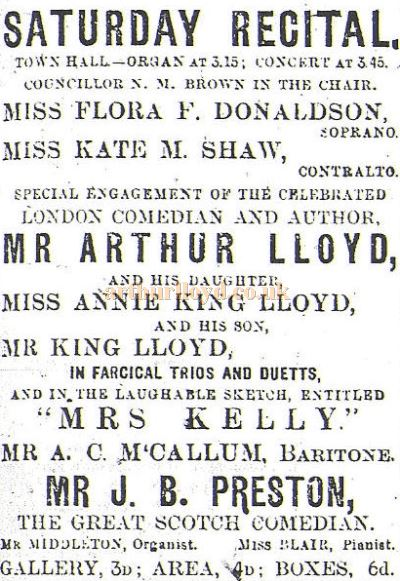 A Greenock Telegraph advertisement from the 23rd of December 1899 for Arthur Lloyd, King Lloyd, and Annie King Lloyd performing at the Town Hall, Greenock.