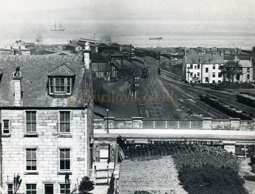 Cooke`s Circus headquarters, very top left building (on Prince`s Pier) which briefly became a music hall - Courtesy the McLean Museum & Art Gallery, Greenock.