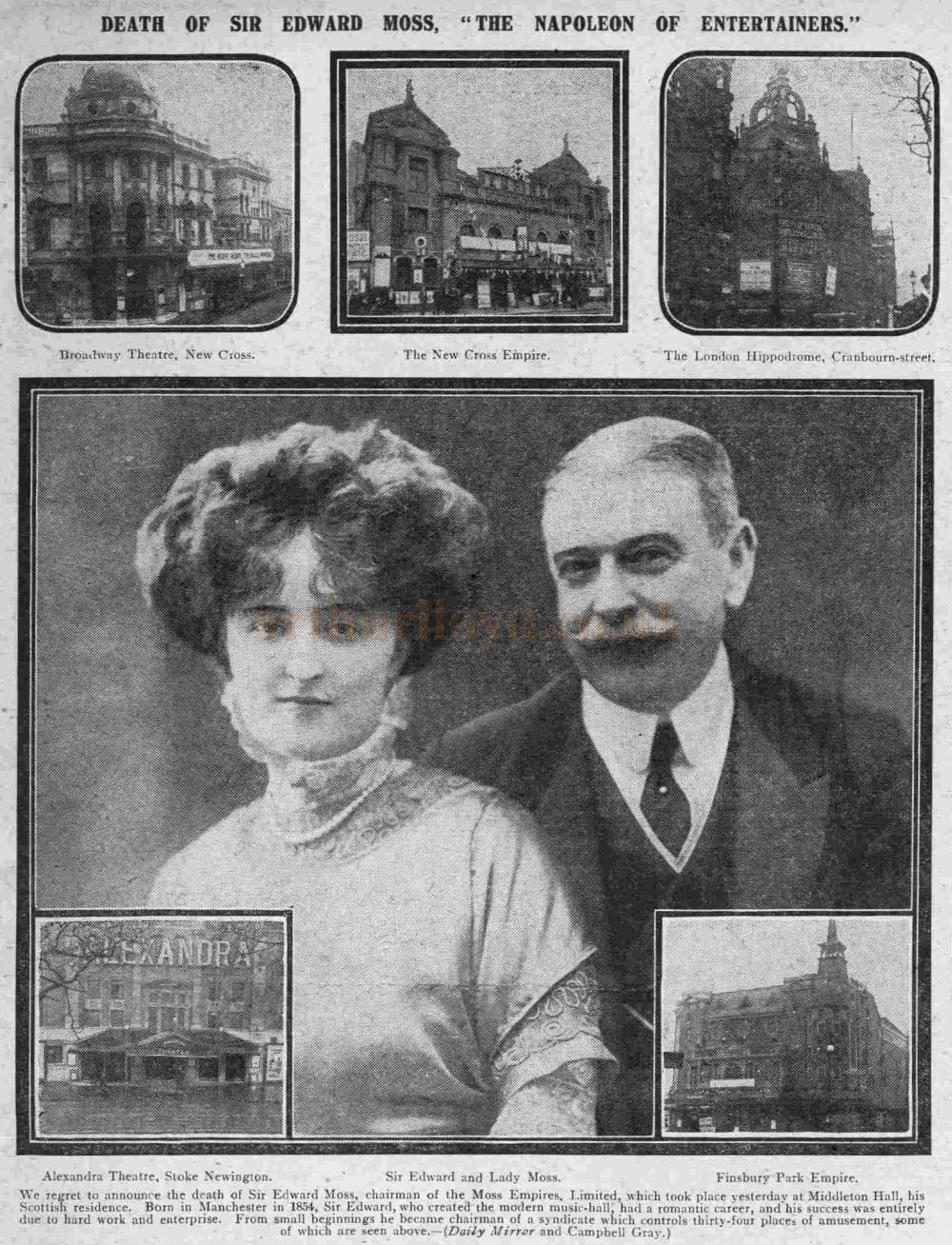 An illustrated page from the Daily Mirror from Tuesday the 26th of November 1912 on the death of Edward Moss.