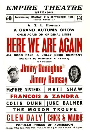 A Greenock Empire Theatre flyer for 'Here We Are Again' in 1950 - Courtesy Colin Calder.