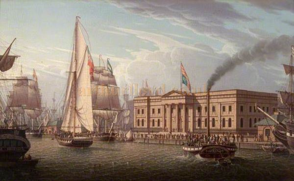 The Custom House, Greenock in 1820, painted by Robert Salmon - With kind permission the McLean Museum & Art Gallery.