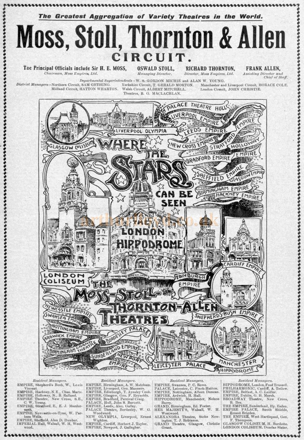 An Illustrated Advertisement for the Moss Stoll Thornton & Allen Circuit - From The Music Hall and Theatre Review, 16th of December 1909.