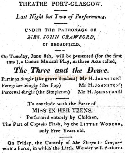 A Newspaper Advertisement for the Theatre, Port Glasgow in June 1813 - Courtesy Graeme Smith.
