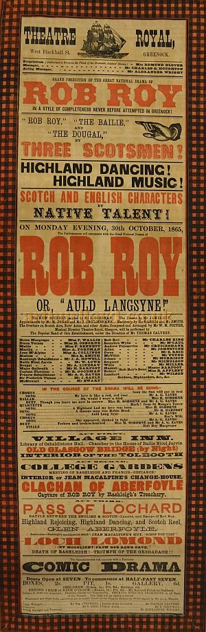 A Greenock Theatre Royal playbill for ROB ROY, Monday 30 October 1865 - Courtesy the McLean Museum & Art Gallery, Greenock.