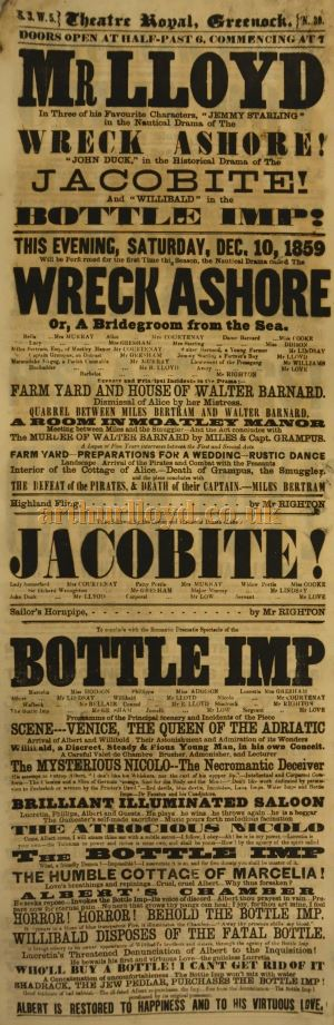 A Greenock Theatre Royal playbill for MR LLOYD Saturday December 10 1859 - Courtesy the McLean Museum & Art Gallery, Greenock.