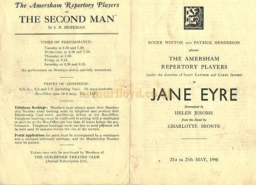 "Programme for the Amersham Repertory Players production of ""Jane Eyre"" at the Guildford Theatre in 1946 - Courtesy Alan Chudley."