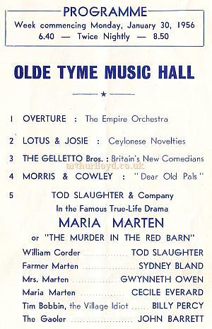 Variety Programme for the Hackney Empire, recreating the Music Hall era in 1956
