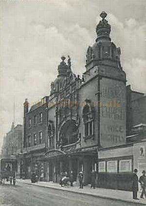 A period postcard of the Hackney Empire.
