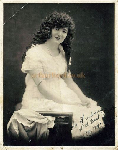 An early photograph of Kitty McShane signed and dedicated to Fred Midley - Courtesy Roy Stockdill