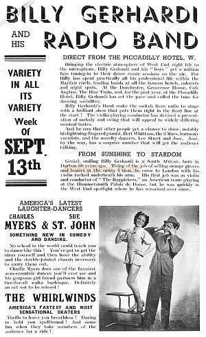 Variety programme from the Hackney Empire for the 13th of September 1937