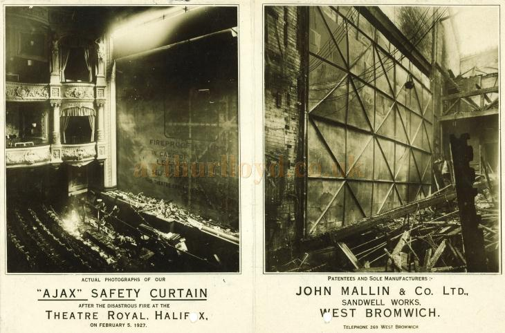 In front and Behind the Ajax Fire Curtain installed at the Theatre Royal Halifax, after the fire on the 5th of February 1927 - Courtesy Roger Fox and David Spink.