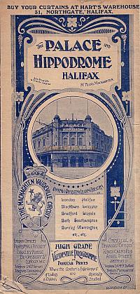 An Early Programme for the Palace and Hippodrome, Halifax - Courtesy Peter Charlton