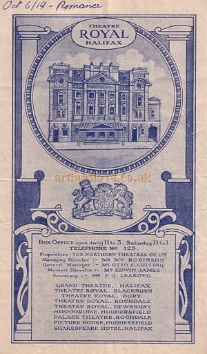 A programme for a production of 'Romance' by Edward Sheldon at the Theatre Royal, Halifax in October 1919.