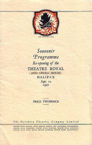 A Souvenir Programme for the Theatre Royal, Halifax, dated 12th September 1927.
