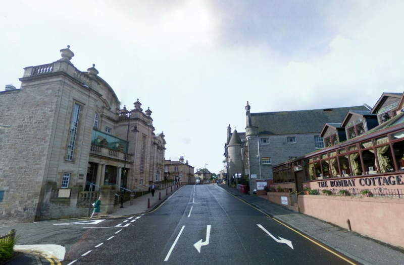 A Google StreetView Image of the Hamilton Town House Main Hall entrance on Lower Auchingramont Road - Click to Interact.