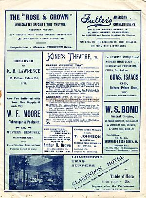 Programme for 'The Courage of Silence' at the King's Theatre, Hammersmith - Week of May 22nd 1905