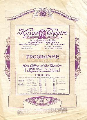 Programme for 'Mary Rose' at the King's Theatre, Hammersmith Week of Feb 28th 1921
