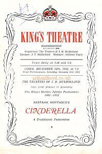 Programme for 'Cinderella' at the King's Theatre Hammersmith 1952 - Click for article by Lupino Lane on this production and biog.