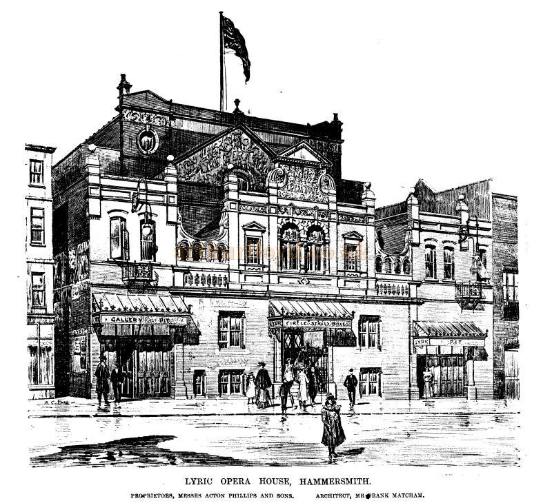 The Lyric Opera House, Hammersmith - From the ERA, 21st of October 1899 - To see more of these Sketches click here.