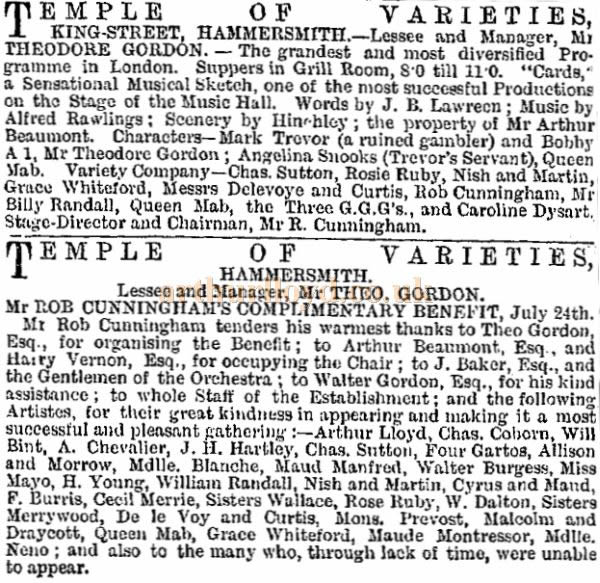 A Cutting from the ERA of the 26th of July 1884 on a Benefit for Rob Cunninham at the Temple of Varieties, Hammersmith.