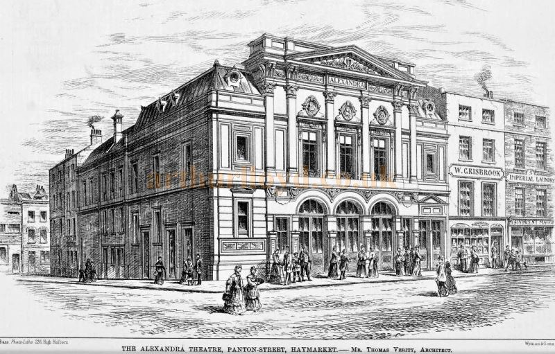 An Engraving showing the proposed Alexandra Theatre, Panton Street - From the Builder, 18th June 1881. The Theatre actually opened as the Royal Comedy Theatre on the 15th of October 1881, and is today called the Harold Pinter Theatre.