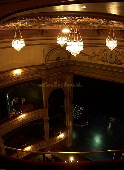 The auditorium and stage of the Harold Pinter Theatre in a photograph taken from the Gallery in September 2009. - Photo M.L.