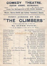 Programme for 'The Climbers' at the Comedy Theatre in the early 1900s.