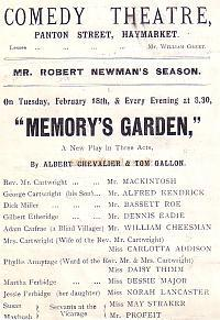 Programme for 'Memory's Garden' at the Comedy Theatre in 1902.