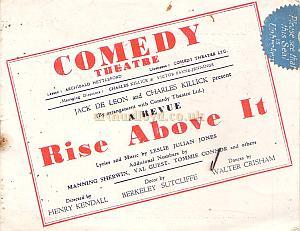 Wartime Programme for 'Rise Above It' at the Comedy Theatre in 1941.