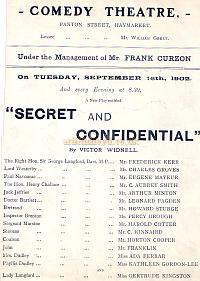 Programme for 'Secret and Confidential' at the Comedy Theatre in 1902.