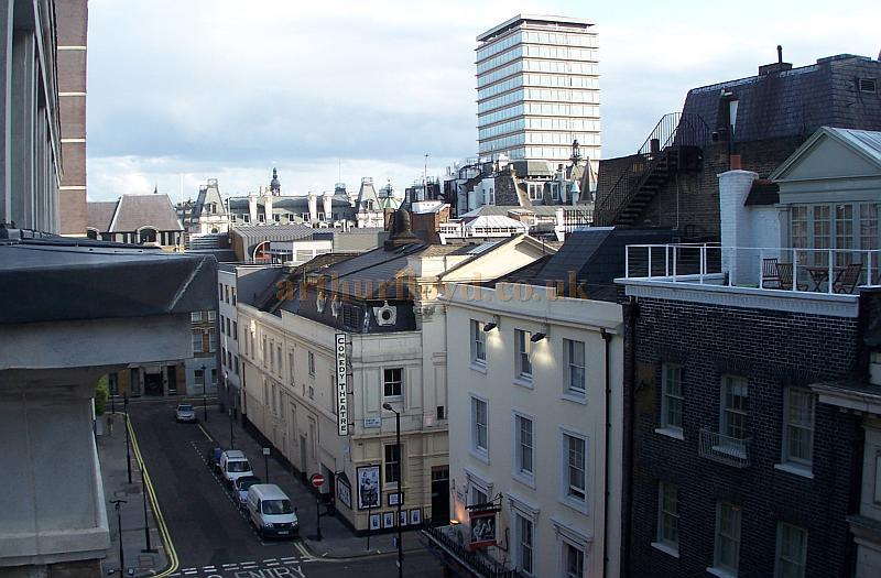 The Harold Pinter Theatre in a photograph taken from the roof of the Prince of Wales Theatre in September 2009, on the roof of the Theatre can be seen the extract ducting of the auditorium's original Sunburner. - Photo M.L.