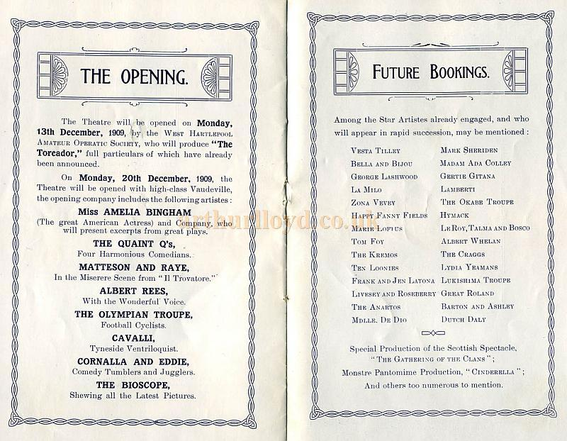 Opening Night Details and Future Attractions - From the opening night Souvenir Programme for the Empire Theatre, West Hartlepool in 1909 - Courtesy Cliff Reynolds.