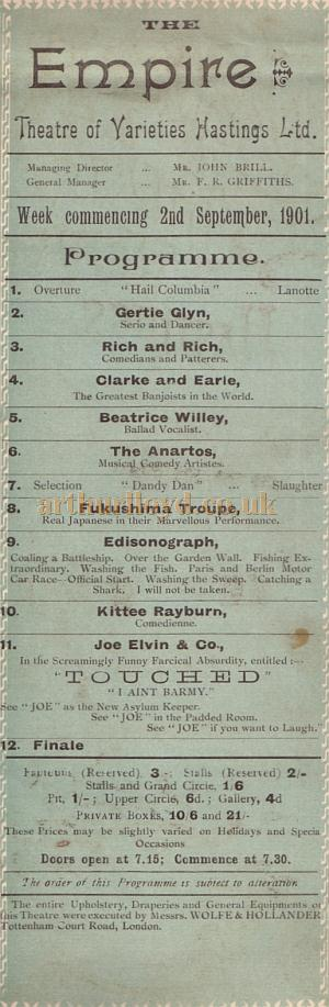 A Programme for the Empire Theatre of Varieties, for the 2nd of September 1901 - Kindly donated by Mr. John Moffatt.