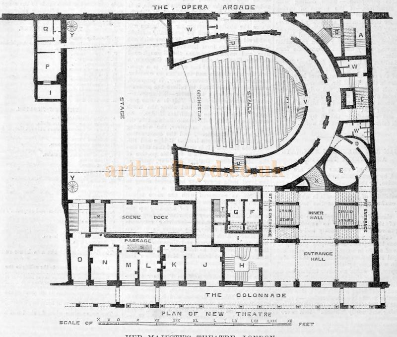 A Plan of the new Her Majesty's Theatre - From the Builder of December 12th 1868