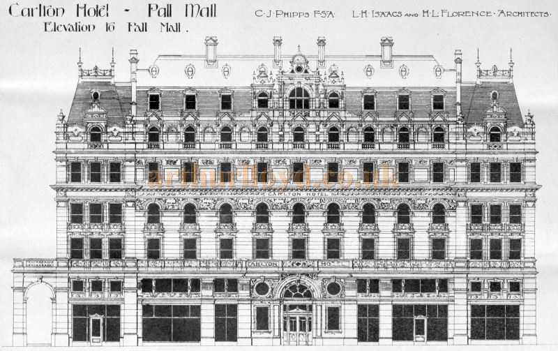 An Architect's Drawing of the Carlton Hotel by C. J. Phipps' FSA and L. H. Isaacs and M. L. Florence - From The Building News and Engineering Journal, 7th of July 1899.