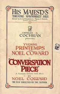 Programme for Noel Coward's 'Conversation Piece' at His Majesty's Theatre in 1934.