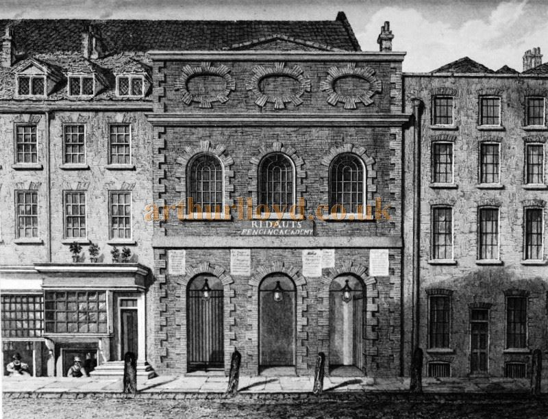 The First Opera House in The Haymarket - From a Drawing by Wm. Capon, made in 1783 - From 'Historical and Literary Curiosities' by Charles John Smith F.S.A. 1852.