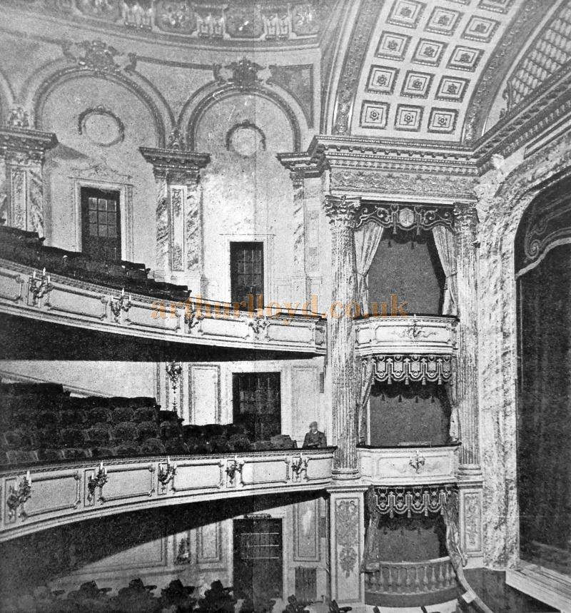 The Auditorium of Her Majesty's Theatre when it first opened in 1897 - From 'Modern Opera Houses and Theatres' by Edwin O Sachs, Published 1896-1898, and held at the Library of the Technical University (TU) in Delft - Kindly sent in by John Otto.