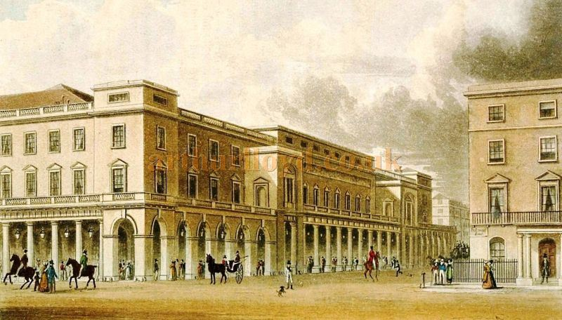 The Italian Opera House as it appeared in 1822 - From 'The Repository of arts, literature, commerce, manufactures, fashions and politics' Series 2, Volume 14, published in 1822.