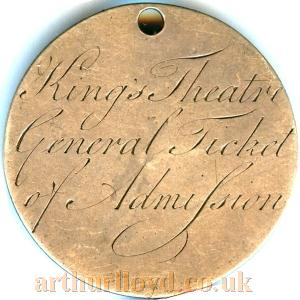 A General Ticket of Admission Token for the King's Theatre in 1778, with the moniker R. B. Sheridan Esq - Courtesy Alan Judd.