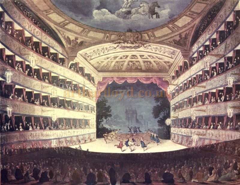 The Auditorium and Stage of The King's Theatre, Haymarket- From 'Microcosm of London or London in Miniature Vol 2', 1904. The image was first published, 1st March, 1809, at R. Ackermann's Repository of Arts, 101 Strand.