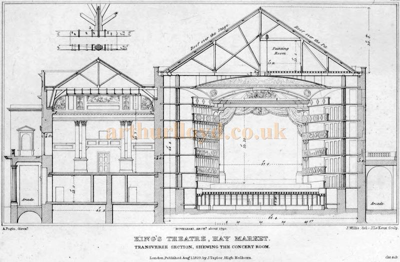 John Nash & G. S. Repton Architect's Plan of the King's Theatre, Haymarket - From 'Illustrations of the public buildings of London Vol 1' Published in 1825.