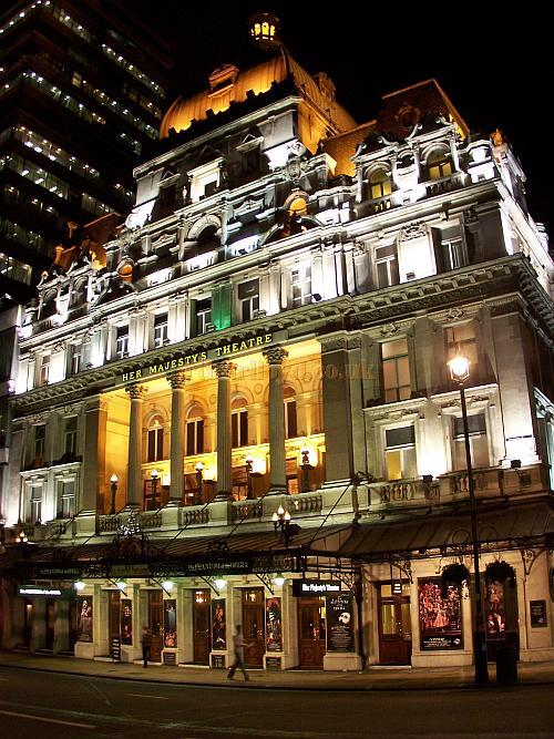 Her Majesty's Theatre during the run of 'The Phantom Of The Opera' which opened on the 9th of October 1986 and and in October 2011 had been running for 25 years - Photo M.L. October 2006.